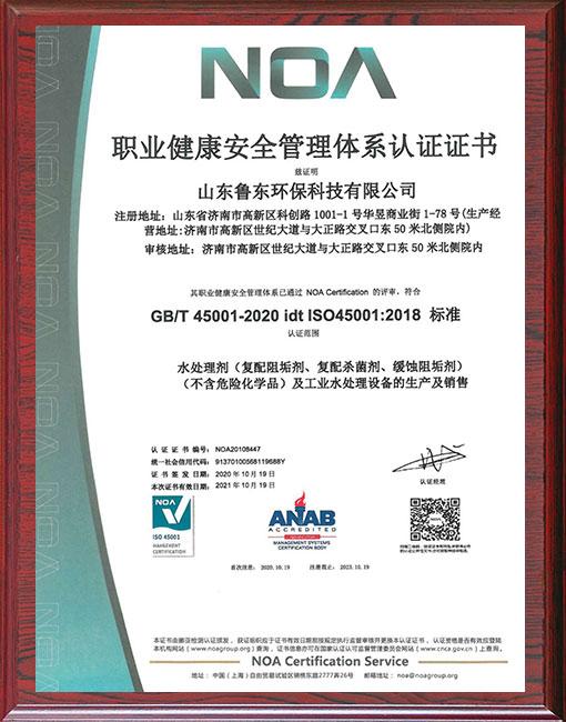 缓蚀阻垢剂厂家-职业健康管理体系证书