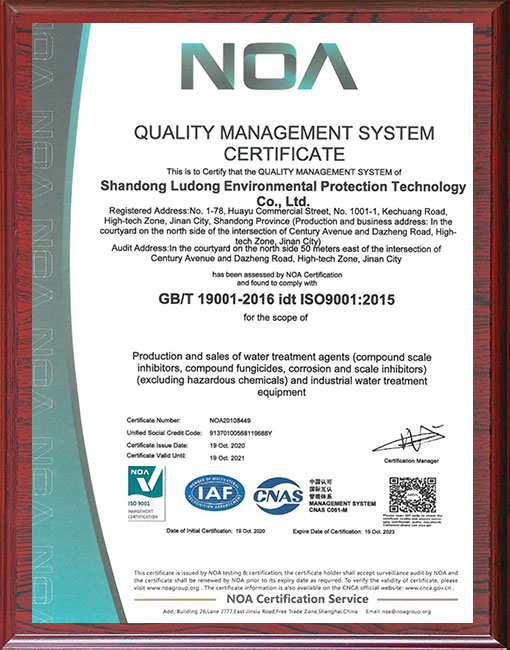 缓蚀阻垢剂厂家-职业健康管理体系证书EN